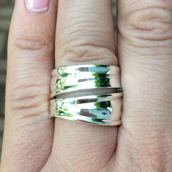 Size 7.5 Vintage Sterling Silver Spoon Ring