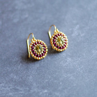 Dainty Seed Bead Earrings // Beaded Earrings // Olive and Magenta // Gold Beaded Earrings // Handmade Earrings E055 by Indigo Lunch