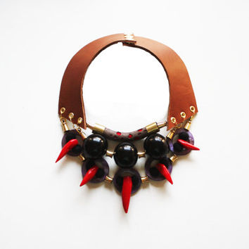 KAUAI -  Leather Necklace Bib Necklace Coral Jewelry Tribal Necklace Ethnic Inspired Choker Large Bold Big Beaded Necklace Brown Red Black