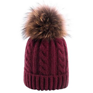 Winter Womens Hats Real Raccoon Fur Pom Pom Crochet Knit Warm Cap Fashion Twist Skullies Beanies Hat Female Knitted Beanie Caps