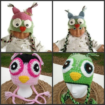 Crocheted Owl Hat , Crochet Earflap Beanie