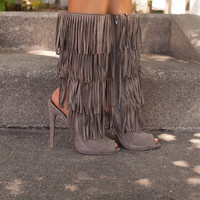 Keeping Me on My Toes Fringe Heels/Boots in Taupe