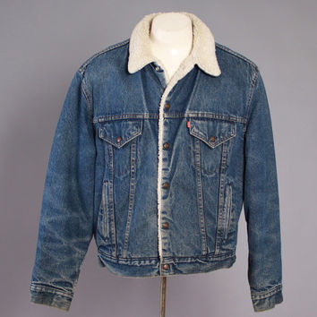 170a9a99 80s Men's LEVI'S JEAN JACKET / Vintage 1980s Dark Blue Sherpa Lined Trucker  ...