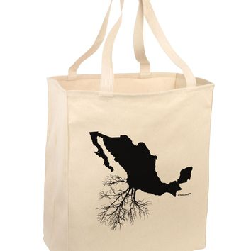 Mexican Roots Design Large Grocery Tote Bag by TooLoud