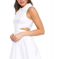 White Sleeveless Collared Mini Dress with Waist Cut-out and Zipper