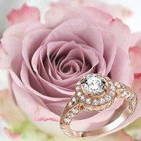 Bling Jewelry Rose Gold Vermeil Art Deco Halo Round CZ Engagement Ring Silver | Bling Jewelry