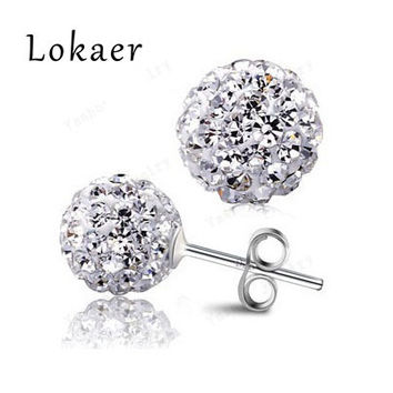 Mix-Color Crystal Earrings Silver Plated 10MM Crystal Disco Ball Stud Earrings For Women (2Pcs=1Pair/Lot) Free Shipping