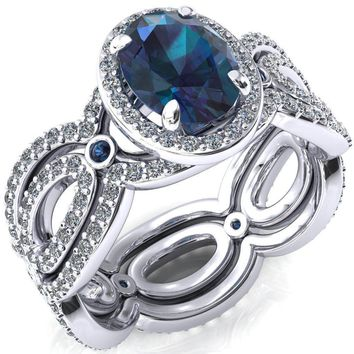 Polaris Oval Alexandrite Diamond Halo Full Eternity Alexandrite Bezel Diamond Accent Ring