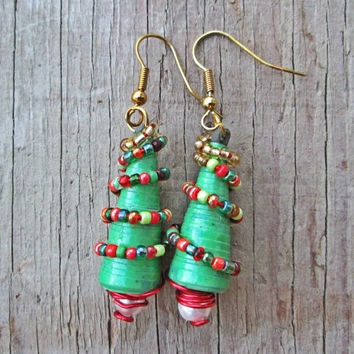Upcycled, recycled, repurposed Paper earrings - Paper bead jewelry - Eco friendly jewelry - Christmas tree earrings - stocking stuffer