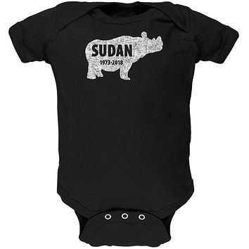 Sudan Last Male White Rhino Silhouette Soft Baby One Piece