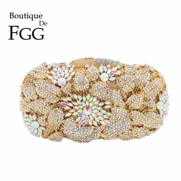 Clear Crystal AB Women Flower Evening Clutch Bag Bridal Hollow Out Diamond Handbag Wedding Purse Gold Party Metal Minaudiere Bag