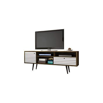 "70.86"" Mid Century - Modern TV Stand w/ 4 Shelving Spaces & 1 Drawer -Rustic Brown, White"