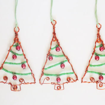 Set of 3 wire wrapped beaded Christmas tree decoration, glass and acrylic beads. Hanging decoration, Christmas tree ornament. Xmas