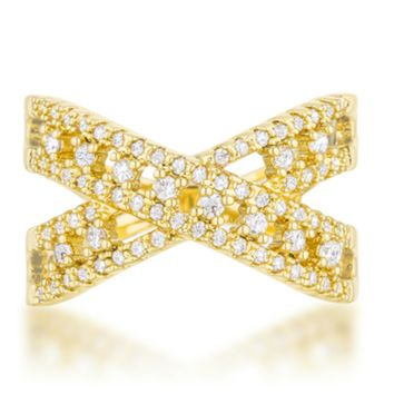 Sandy Classic Criss Cross Fashion Ring | 1ct | Cubic Zirconia | 14k Gold