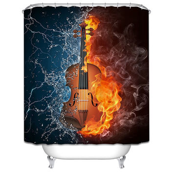 Polyester Shower Curtains Bathroom Decor Home Decorations Seabed Fish Beach Violin Wolf Howl Shark Waterproof Bath Room Curtain