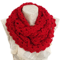 Valentines Day Gift, Red Scarf, Knitting Infinity Scarf, Antibacterial Yarn, Lightweight Soft Handknit