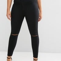 ASOS CURVE RIVINGTON Jeggings in Clean Black with Rips at asos.com
