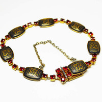 European Damascene Bracelet with Red Rhinestones - Black, Gold and Red - Rectangle Chain Links - Signed  Radi Spain - Vintage 1950's 1960's