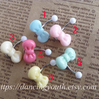 Lovely Beautiful Bow Belly Button Ring,  bowknot Belly Ring,