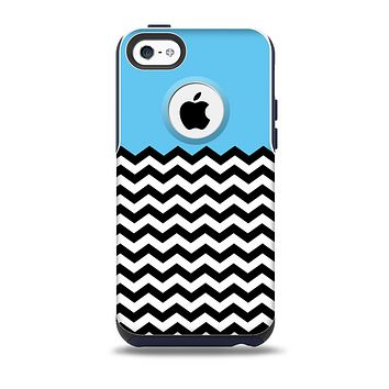 The Solid Blue with Black & White Chevron Pattern Skin for the iPhone 5c OtterBox Commuter Case