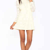 IVORY LONG SLEEVE LACE DRESS