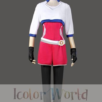Hot  Go Female Trainer Team Instinct Mystic Valor White Shirt Cosplay Costume Halloween CostumeKawaii Pokemon go  AT_89_9