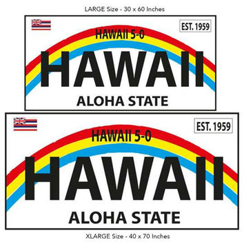1959 Hawaii Aloha State License Plate Beach Towel
