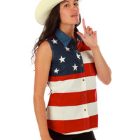 Betsy Ross American Flag Tank Button Down