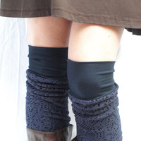 Navy bamboo knit leg warmers by RunSystem63 on Etsy