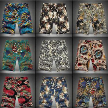 IMC 2016 Summer Men Short Pants  Casual  Shorts Trousers Slim Fit Cotton Vintage Flower Print Men's Beach Shorts