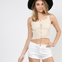 Ribbed Button Up Cropped Tank - Large