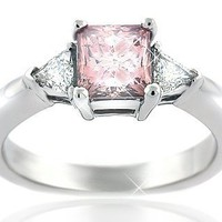 1.30 CT Pink Princess-cut Diamond Ring