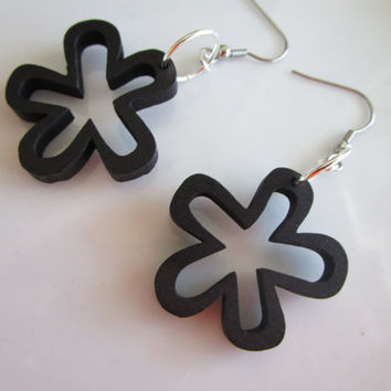 Black daisy wooden earrings - wood painted jewelry - black wood earring - hobo earring - stainless steel nickel free earrings, black flower