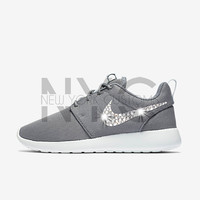 Blinged Nike Roshe One Run Cool Grey Swarovski Crystal Rhinestones