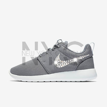 Blinged Nike Roshe One Run Cool Grey Swarovski Crystal Rhinestones 06245614f