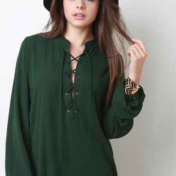 Crepe Chiffon Lace Up Blouse | UrbanOG