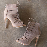 Lace Up Heel Booties - Taupe