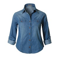 LE3NO Womens Roll Up Long Sleeve Button Down Cotton Denim Shirt with Pockets
