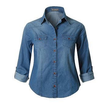 Roll Up Long Sleeve Button Down Cotton Denim Shirt with Pockets