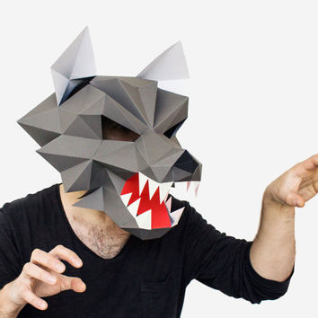 Make your own Werewolf Mask, Printable Animal Mask, Instant Pdf download, DIY Halloween Paper Mask, 3D Pattern, Polygon Masks