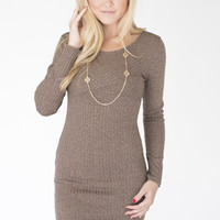 Oatmeal long sleeve open back knit dress
