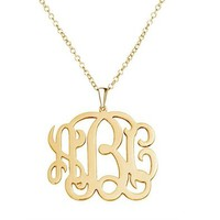 MJartoria Letters Script Name Charm Pendant Necklace - Custom Made with Any Initial