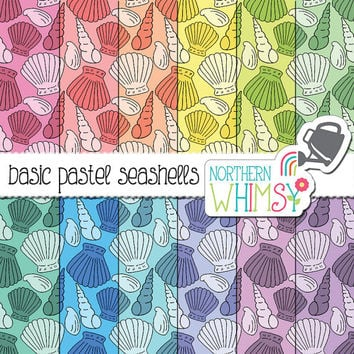 Seashell Digital Paper - pastel shell seamless patterns - pink, peach, yellow, mint, blue & lavender - beach scrapbook paper -commercial use