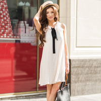 Mary Sleeveless Ivory Ribbon Tie Shift Dress