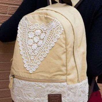 Fashion Baige Lace Backpack with Crochet from styleonline