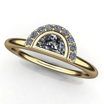zoe ring - NEO moissanite half moon ring