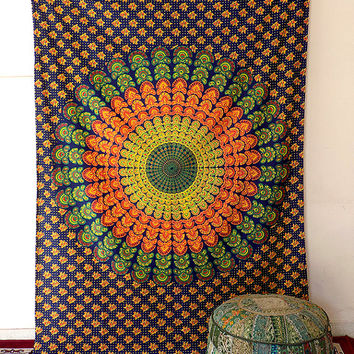 BLUE mandala hippie tapestry, hippie wall hanging tapestries, bohemian tapestries, peacock mandala home decor