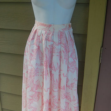 Vintage 80s Blake Pink Tropical Palm Leaves Hawaiian Print Floral Silhouette Long Full Skirt Size 14 // Waist 32