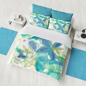 Boho Bamboo Floral Duvet Cover or Comforter, blue, gold, green, flowery bright,  beautiful, bedroom decor