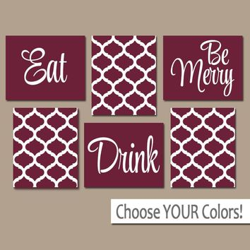 EAT DRINK be Merry Wall Art, CANVAS or Prints, Kitchen Decor, Dining Room Wall Decor, Trellis Pattern, Maroon Home Decor Set of 6 Wall Decor